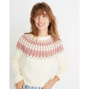 MADEWELL M Antique Cream Fair Isle Keaton Sweater